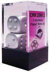2 Aluminum Plated 16mm D6 Dice - chx29012
