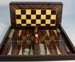 Elegance Brown Backgammon with Crocodile Trim with Chessboard
