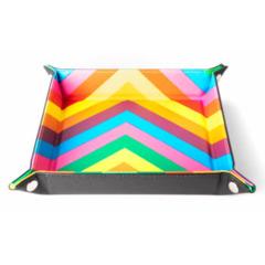 Velvet Folding Dice Tray W/ Leather Backing - Rainbow