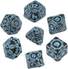 Tech Dice Set: Black & Blue (7)