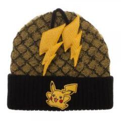 Pikachu - Black - Yellow Lightning Bolt Poms (Hat) - Beanie