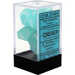 Frosted Teal - White  Dice (Chessex) - CHX27405