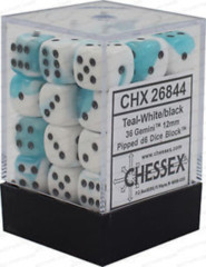 12 16mm Gemini Teal-White/Black D6 Dice - CHX26844