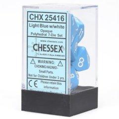 Opaque Light Blue / White 7 Dice Set - CHX25416