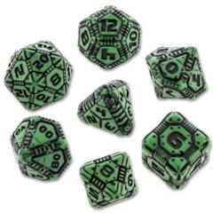 Tech Dice Set: Green & Black (7)
