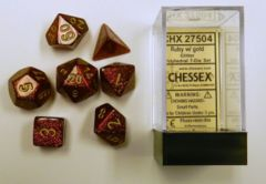Ruby / Gold Glitter - Polyhedral Dice Set 7CT (Chessex) - CHX27504