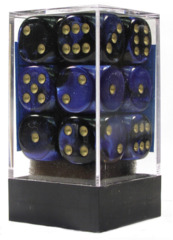 12 Black-Blue/Gold Gemini 16mm D6 Dice Set - CHX26635