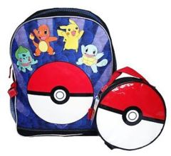 Black - Blue - Red Pokemon (Backpack) - Pokeball Lunch Bag