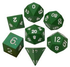 Metallic Dice 16mm Poly Green Metal 7ct Set