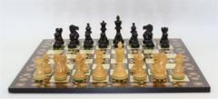 Black & Natural Boxwood Classic Chessmen on 17