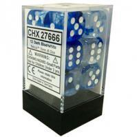12 Dark Blue/White Dice Block - CHX27666