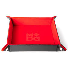 Velvet Folding Dice Tray W/ Leather Backing - Red