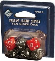 Black / Red D10 Dice (Fantasy Flight Games) - 6x