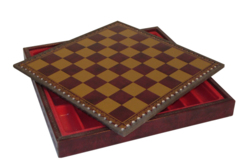 11'' Burgundy & Gold Leather Chest