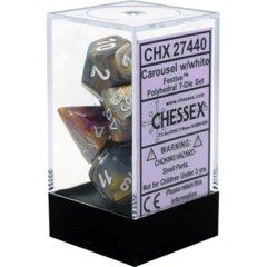 Carousel w/white festive 7 die set (Chessex) - chx27440