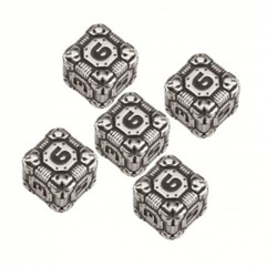 5 D6 Tech Dice Metal Black Set