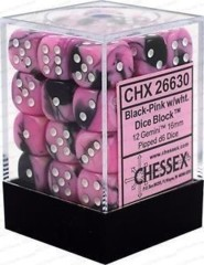 12 16mm Gemini Black-Pink/White D6 Dice - CHX26830