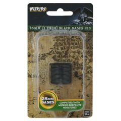25mm (1 Inch) Black Bases x15 - Wizkids Deep Cuts Unpainted Miniatures