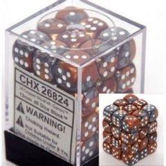 12 16mm Gemini Copper-Steel White D6 Dice - CHX26824