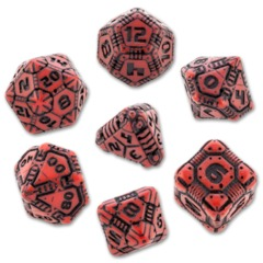 Tech Dice Set: Red & Black (7)
