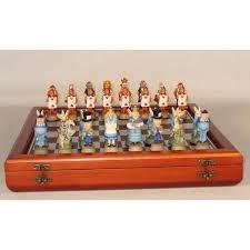 Alice in Wonderland Chessmen on Cherry Chest