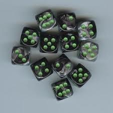 12 Black Grey w/Green 16mm D6 Dice Block - CHX26645