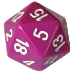 Light Purple - White 34mm d20 Die (Chessex) - chxxq2027