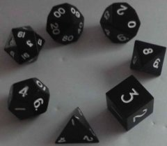 Metallic Dice 16mm Poly Black Metal 7ct Set