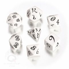 Classic Elven Dice:  White and Black Dice Set (7)