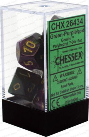 Gemini Green-Purple - Gold Dice (Chessex) - CHX26434