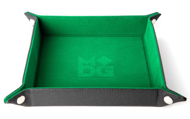 Velvet Folding Dice Tray W/ Leather Backing - Green