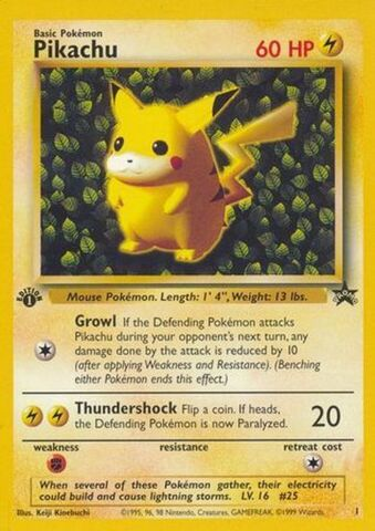 Pikachu - 1 - Pokemon League (July 1999) (1st Ed Symbol Misprint)