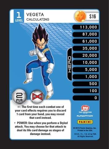 Dragon Ball Z Panini Awakening Vegeta level 1-4 High-Tech FOIL Main Personality