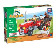 BricTek - Happy Farm - Red Tractor with Trailer - Ages 6+