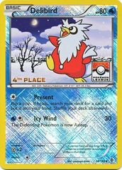 Delibird - 38/149 - 4th Place Crosshatch Holo Pokemon League Froakie / Xerneas Season League Challenge Promo