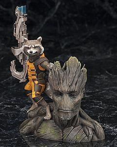 Kotobukiya ArtFX Plus Statue 1/10 Scale Pre Painted Model Kit Marvel Guardians of the Galaxy - Rocket Raccoon & Groot