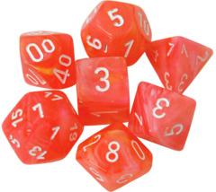 7 Dahlia w/White Festive Polyhedral Dice Set - CHX30005