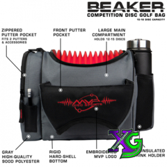 MVP Beaker V2 Disc Golf Bag - Gray/Red