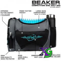 MVP Beaker V2 Disc Golf Bag - Gray/Aqua