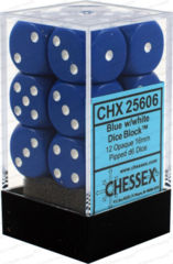 Chessex Opaque D6 (12 Pieces) Blue/White