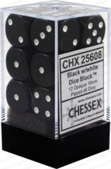 Chessex Opaque D6 (12 Pieces) Black/White