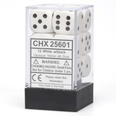 Chessex Opaque D6 (12 Pieces) White/Black