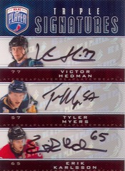 09/10 Be A Player Hedman/Myers/Karlsson Triple AUTO RC