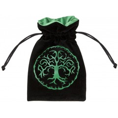 Velour BlackGreen Dice Bag